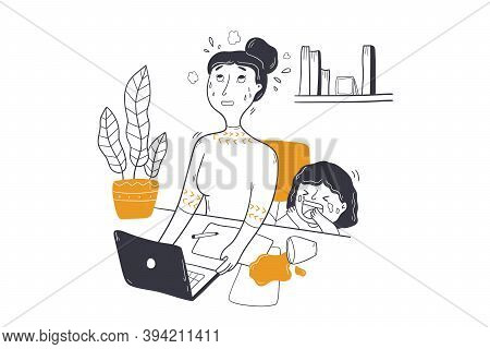 Business, Freelance, Mothers Day Concept. Stressed Disturbed Annoyed Woman Mom Mother Character Work