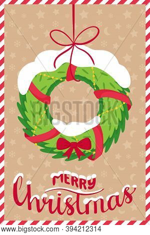 The Concept Of A New Year, Christmas Greeting Card With The Words Merry Christmas. Spruce Wreath Wit