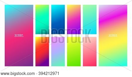 Vibrant And Neon Soft Gradient Smooth Color Background Set For Devices, Pc And Modern Smartphone Scr
