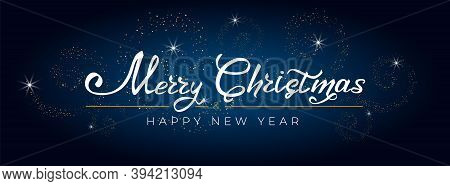 Merry Christmas And Happy New Year 2021. Greeting Card With Hand Drawn Lettering Gold Glittering On