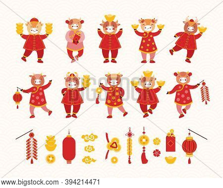 Collection Chinese New Year 2021. Artoon Kids Bulls In Red Traditional Chinese Clothes And Asian Goo