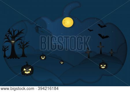 Halloween. Mystical Landscape. Pumpkin-shaped Window. A Witch On A Broomstick Flies In The Sky. Full