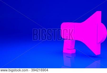 Pink Megaphone Icon Isolated On Blue Background. Speaker Sign. Minimalism Concept. 3d Illustration 3