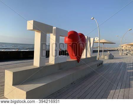 Tel Aviv, Israel - March 3, 2019: Tel Aviv Love Sign At The City Old Port On Blue Sky And Mediterran