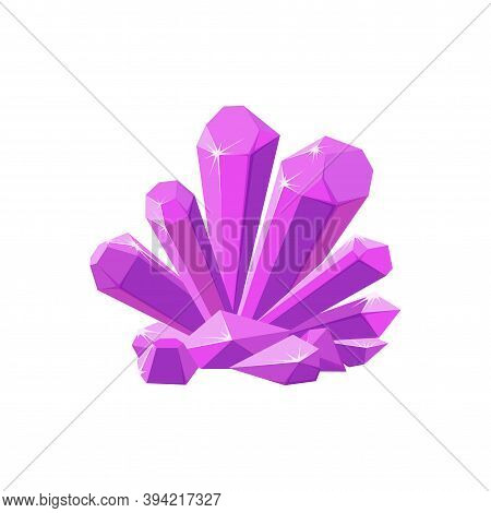 Pink Crystals Or Gemstones. Shining Amethyst Crystal Isolated In White Background. Vector Illustrati