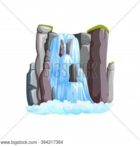 Waterfall Cascade In Mountains. Waterfall Front View Isolated In White Background. Vector Illustrati