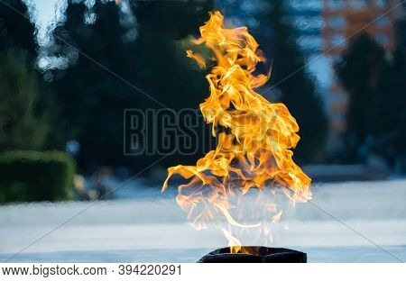 Close-up Of The Fire. Burning Gas Or Gasoline Burns With Fire And Flames. Flaming Burning Sparks Clo