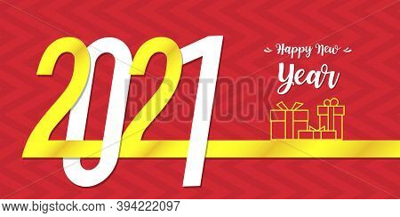 Red Happy New Year 2021 Card. 2021 Happy New Year. Gold Design Of Greeting Card. Happy New Year Bann