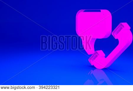 Pink Telephone With Emergency Call 911 Icon Isolated On Blue Background. Police, Ambulance, Fire Dep