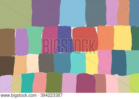 Abstract Background Of Multi-colored Cubes And Rectangle. Children's Illustration, Children's Doodle