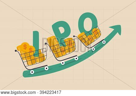 New Stock Ipo, Initial Public Offering Company Going Public To Trade In Stock Exchange Market Concep