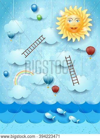 Surreal Seascape With Stairways, Sun And Balloons. Vector Illustration Eps10