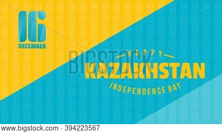 Kazakhstan Independence Day Background Design With Blue And Yellow Color. Good Template For Kazakhst