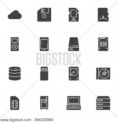 Data Storage Vector Icons Set, Modern Solid Symbol Collection, Filled Style Pictogram Pack. Signs, L