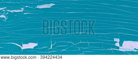 Teal Abandoned Texture. Painted Wooden Structure. Navy Crack Table. Organic Rough Abandoned Texture.