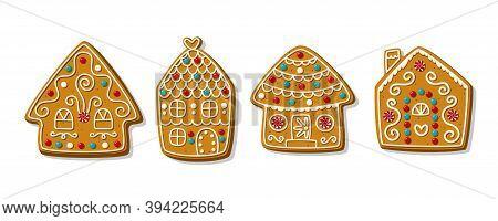 Set Of Cartoon Festive Gingerbread Houses. Festive Homemade Christmas Cookies. Vector Illustration.