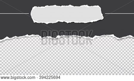 Pieces Of Torn, Ripped Black, And White Paper With Soft Shadow Are On Transparent Background For Tex