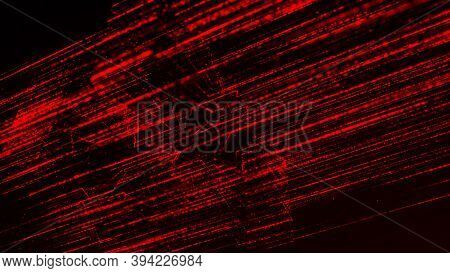 Red Digital Dotted Lines Flowing On Black Background. Animation. Abstract Futuristic Data Or Energy