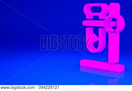 Pink Glass Test Tube Flask On Stand Icon Isolated On Blue Background. Laboratory Equipment. Minimali