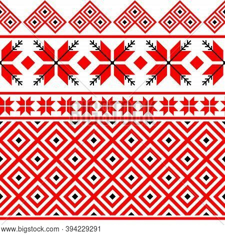 Bulgarian Embroidery Style Red Seamless Vector Pattern