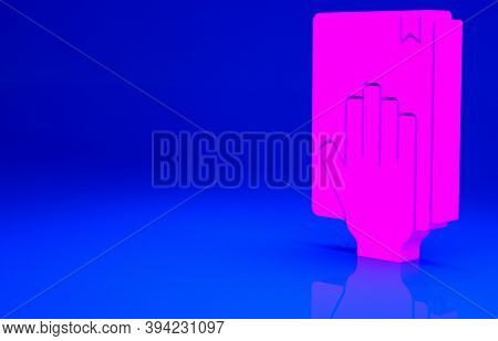 Pink Oath On The Holy Bible Icon Isolated On Blue Background. The Procedure In Court. Truth And Trut