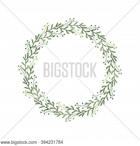 Wreath Of Green Branches, Leaves, Berries. Elegant Border In Linear Style. Design Template For Decor