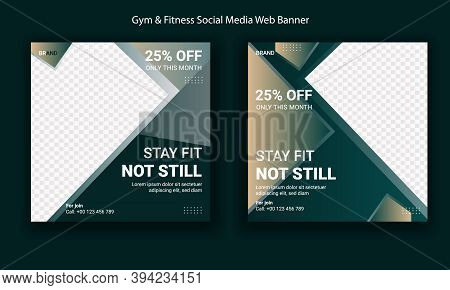 Fitness Center Social Media Post Template Premium. Modern Template Web And Banner Post For Social Me