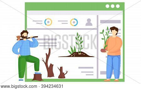 Successful Earth Care. The Guy Holding A Tree To Plant. A Poster With A Globe Polluted By Factories.