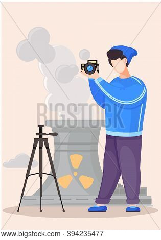 Guy Standing And Adjusting The Lens. Photographic Art. A Cameraman Prepares Camera For A Photo Shoot