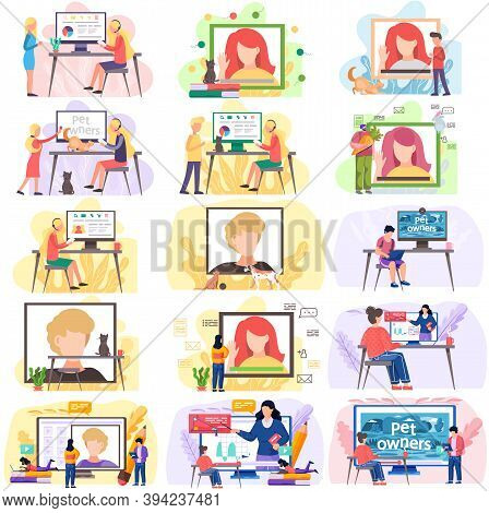Online Learning And Videoconferencing Scenes Set, Online Meeting Workspace. Video Call Chat Conferen