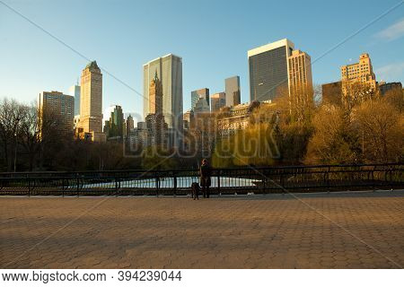 New York City, United States - April 08, 2007: Skyline Of Midtown Manhattan From Central Park.