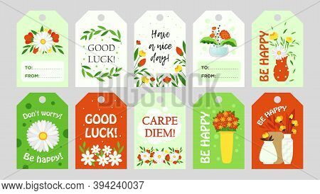 Trendy Tags Design With Flowers. Bright Graphic Elements With Greeting Text And Floral Elements. Flo