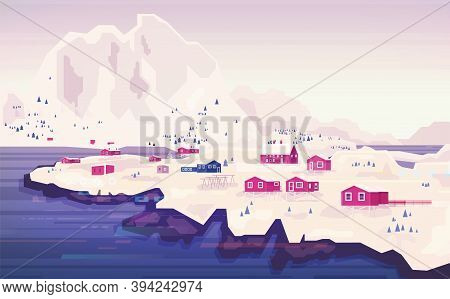 Norwegian Landscape Panorama. Beautiful Panorama Of The City Against The Background Of Mountains.