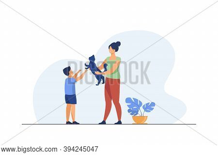 Mom And Son Adopting Pet. Mother Giving Cat To Kid Flat Vector Illustration. Animals Care, Pet Adopt
