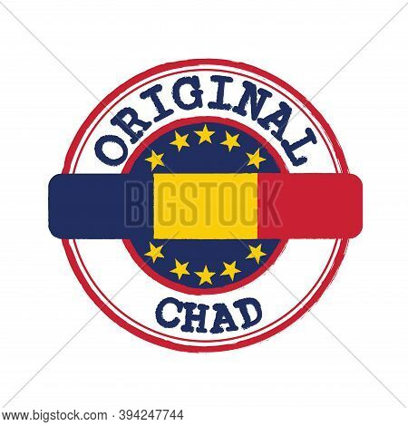Vector Stamp Of Original Logo With Text Chad And Tying In The Middle With Nation Flag. Grunge Rubber