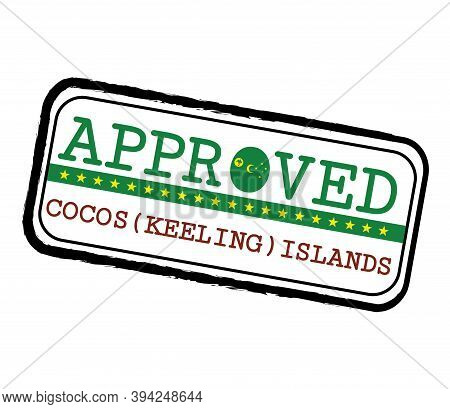 Vector Stamp Of Approved Logo With Cocos (keeling) Flag In The Shape Of O And Text Cocos (keeling) I