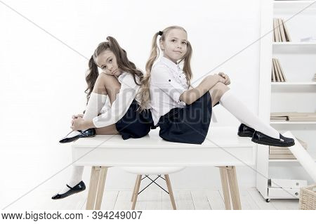 Informal And Formal Knowledge. Cute Little Schoolgirls Having Lesson On Knowledge Day. Small Childre