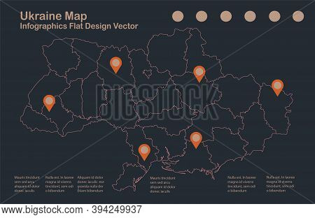 Infographics Ukraine Map Outline, Flat Design, Color Blue Orange Vector