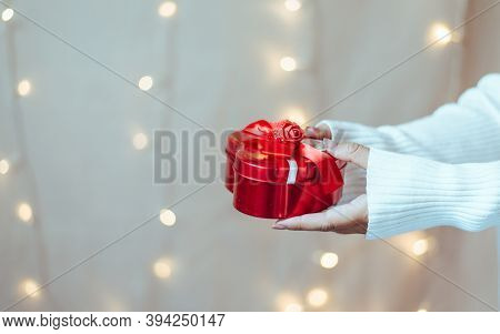 Big Day Gifts, People Holding Gift At Night, Close Up.