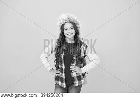 Winter Events At School. Winter Entertainment And Activities. Child Schoolgirl Soft Hat Enjoy Season