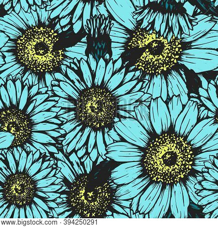 Cute Pattern With Daisies And Chamomiles. Seamless Vector Print With Small Flowers. Summer Textile A