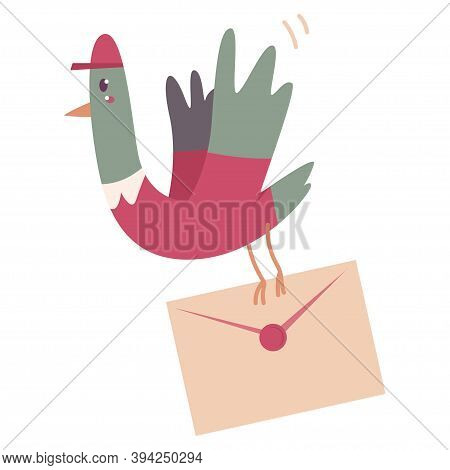 Delivery Pigeon With With Postal Envelope Vector Cartoon Illustration Isolated On A White Background