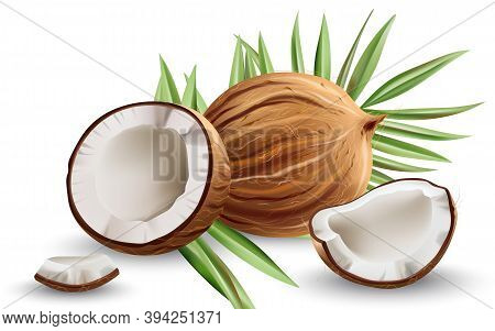 Whole And Cracked Open Coconuts With Monstera Leaves. Realistic. 3d Mockup Product Placement