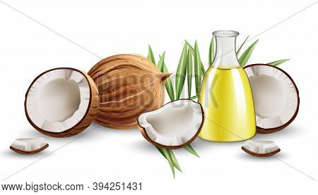 Whole And Cracked Open Coconuts With Monstera Leaves And A Carafe With Oil. Realistic. 3d Mockup Pro