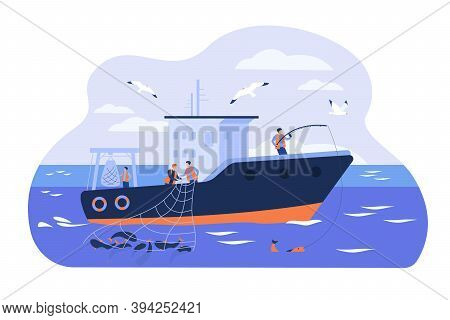 Professional Fishermen Working In Vessel Isolated Flat Vector Illustration. Cartoon Fishers Catching