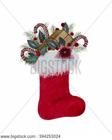 Christmas Stocking With Gifts, Watercolor Christmas Decoration With Red Santa's Boot And Christmas G