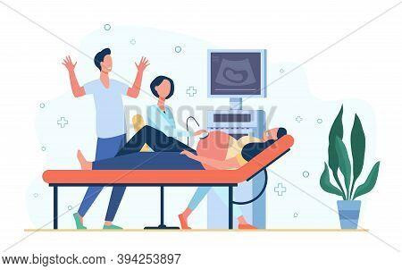 Sonographer Doctor Examining Pregnant Woman, Scanning Abdomen, Using Ultrasound Scanner. Vector Illu