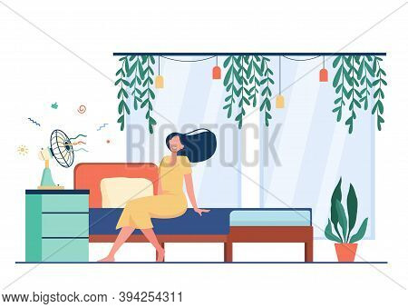 Happy Woman With Flying Hair Sitting At Air Fan, Cooling In Heat Room. Vector Illustration For Hot W