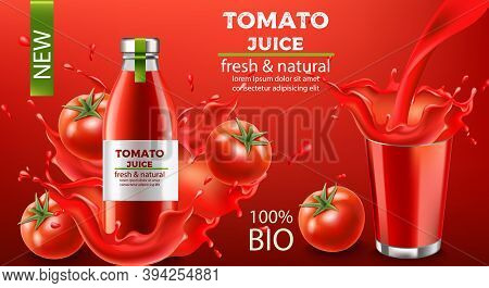 Bottle Of Fresh And Natural Bio Juice Submerged In Flowing Liquid And Tomatoes With A Cup Splashing
