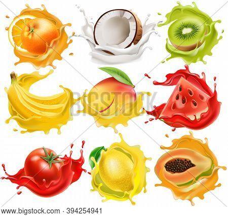Set Of Tropical Fruits And Vegetables Splashing In Juice, Orange, Coconut, Kiwi, Banana, Mango, Wate